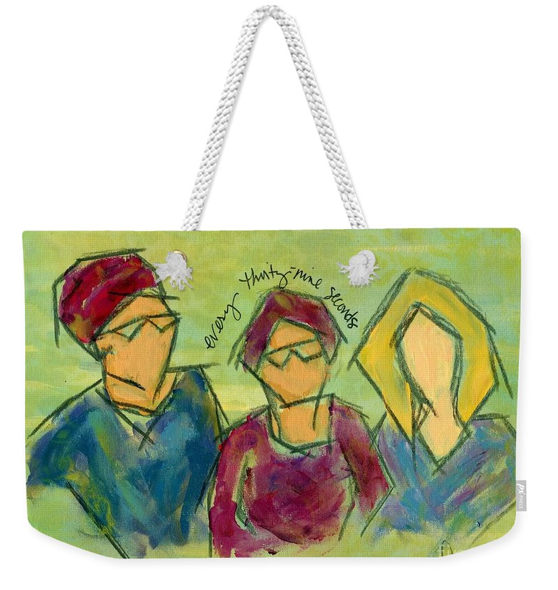Figurative Weekender Tote Bag featuring the painting Every Thirty-nine Seconds by Hew Wilson
