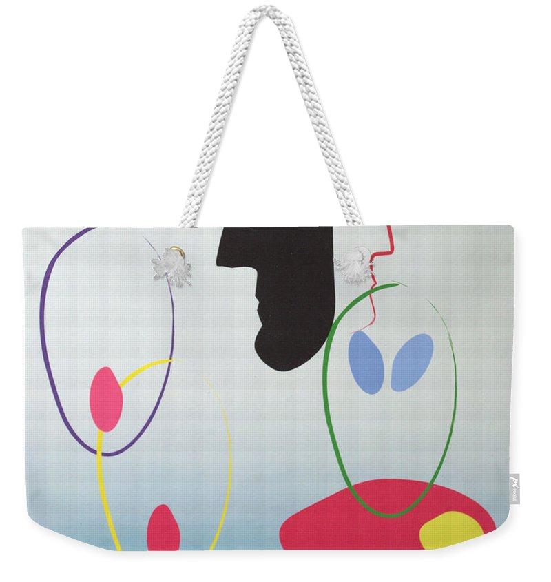 Digital Artwork Weekender Tote Bag featuring the digital art Everyones Talking And No One's Listening by J R Seymour