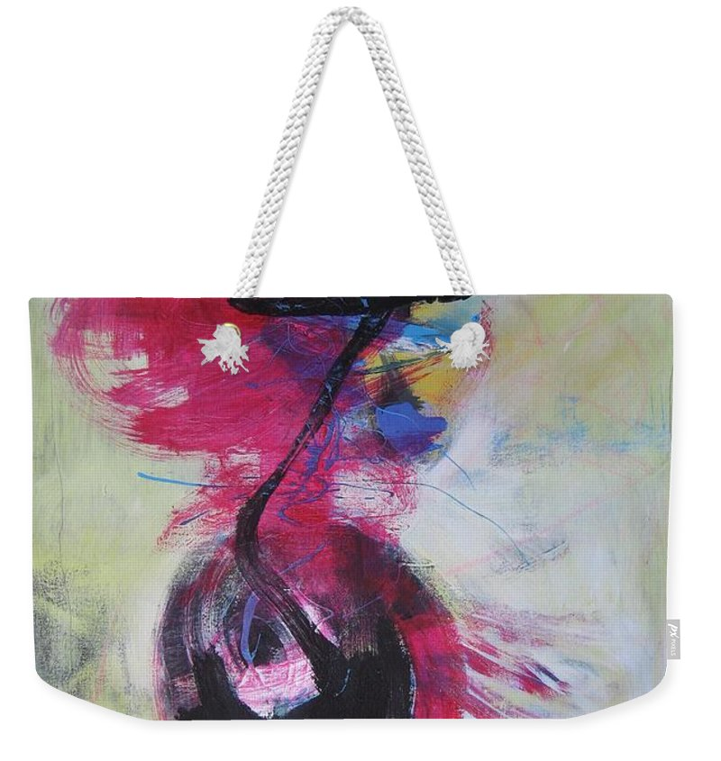 Abstract Paintings Red Paintings Weekender Tote Bag featuring the painting Everything A Mistake-abstract Red Painting by Seon-Jeong Kim