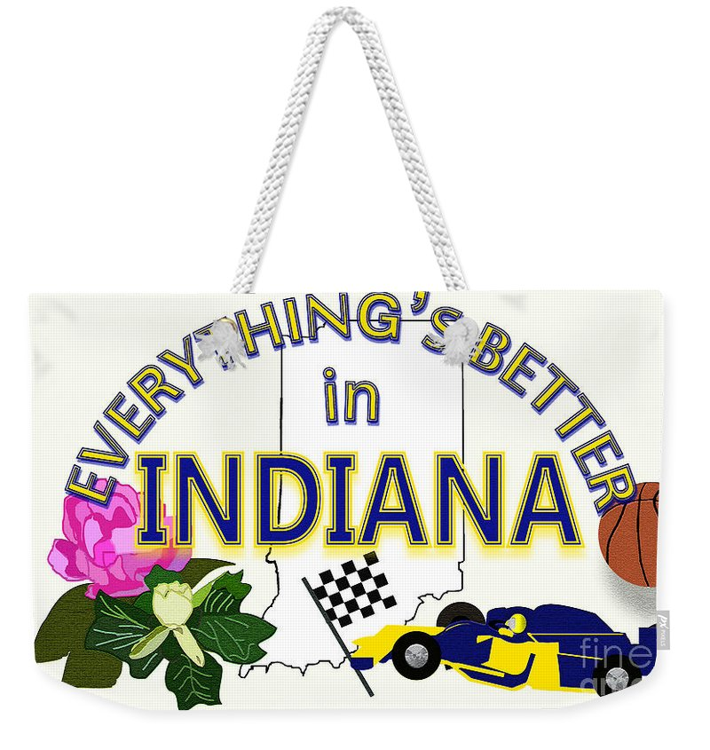 Indiana Weekender Tote Bag featuring the digital art Everything's Better In Indiana by Pharris Art