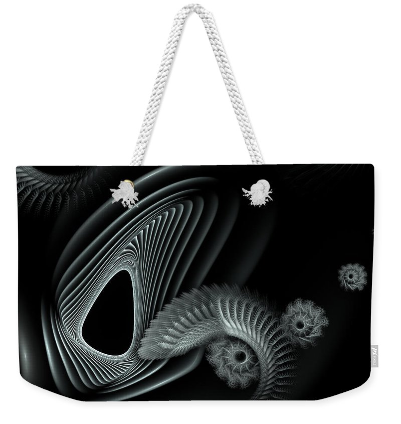 Abstract Weekender Tote Bag featuring the digital art Evincing Insatiability by Casey Kotas