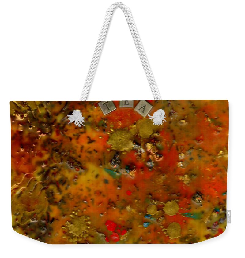 Wood Weekender Tote Bag featuring the mixed media Evolution Of Tea by Angela L Walker