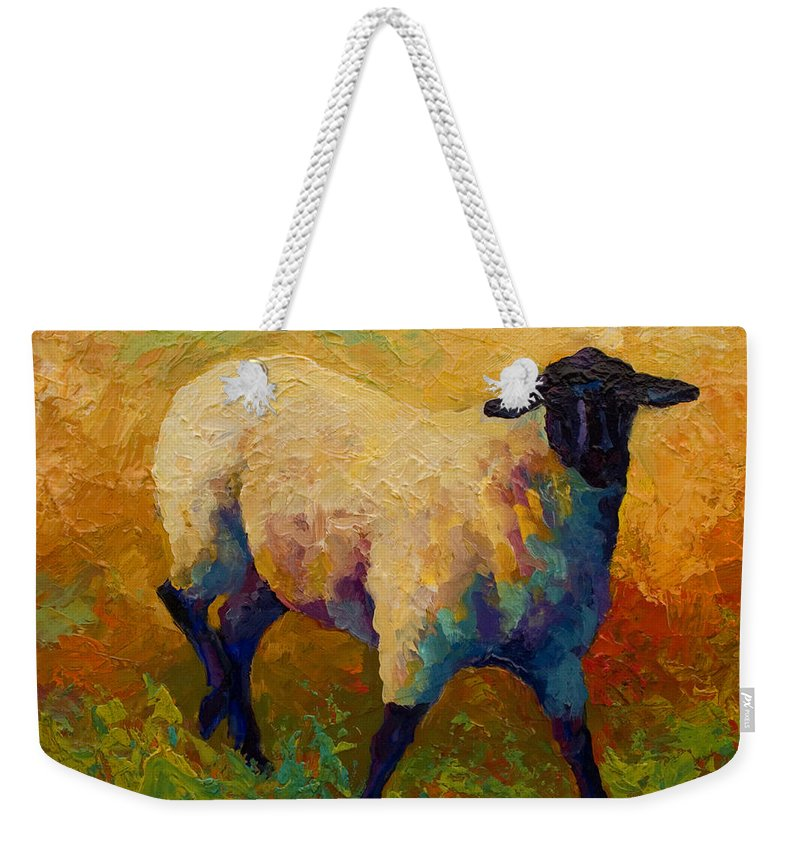 Sheep Weekender Tote Bag featuring the painting Ewe Portrait Iv by Marion Rose