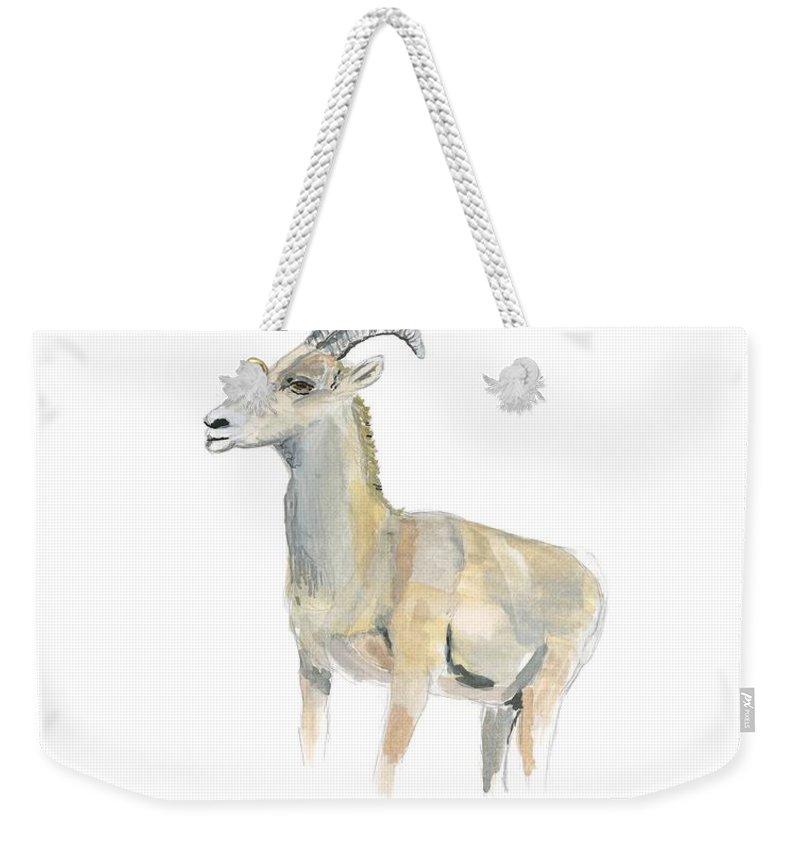 Bighorn Sheep Weekender Tote Bag featuring the painting Ewe by Sara Stevenson