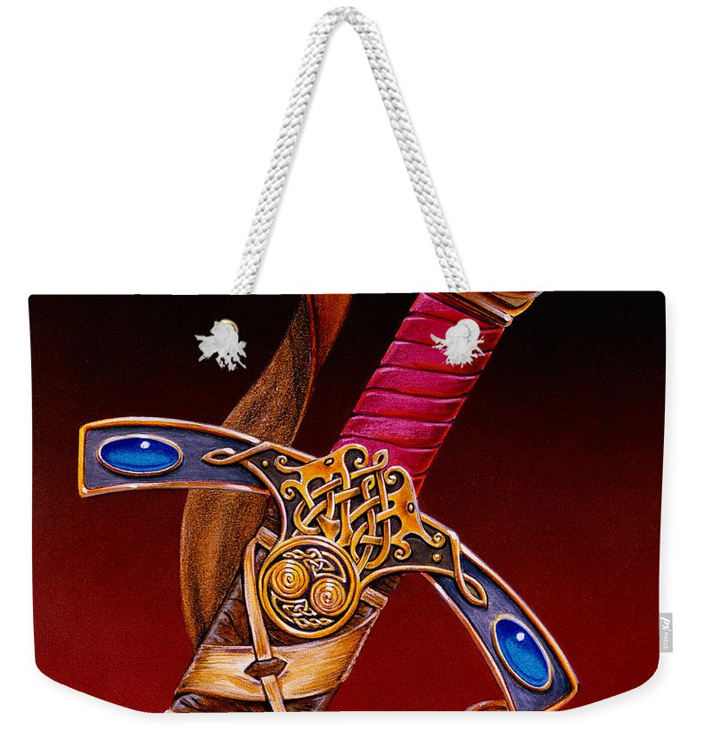 Swords Weekender Tote Bag featuring the mixed media Excalibur by Melissa A Benson