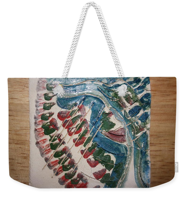 Jesus Weekender Tote Bag featuring the ceramic art Exclamation - Tile by Gloria Ssali