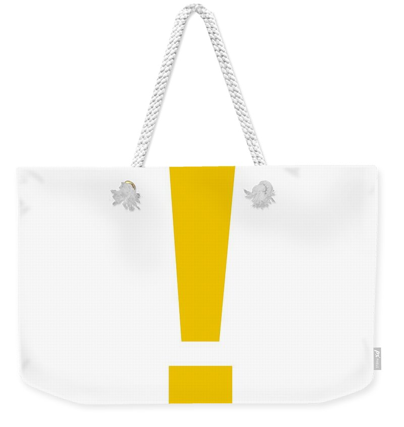 ! Weekender Tote Bag featuring the digital art Exclamation Mark In Mustard Typewriter Style by Custom Home Fashions