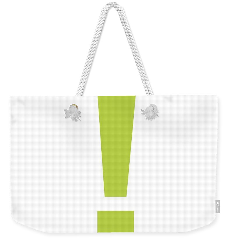 ! Weekender Tote Bag featuring the digital art Exclamation Mark In Spring Green Typewriter Style by Custom Home Fashions