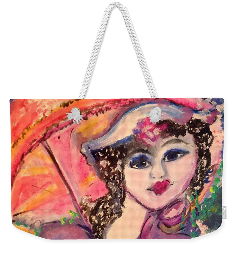 Lost Weekender Tote Bag featuring the painting Excuse Me I'm Lost by Judith Desrosiers