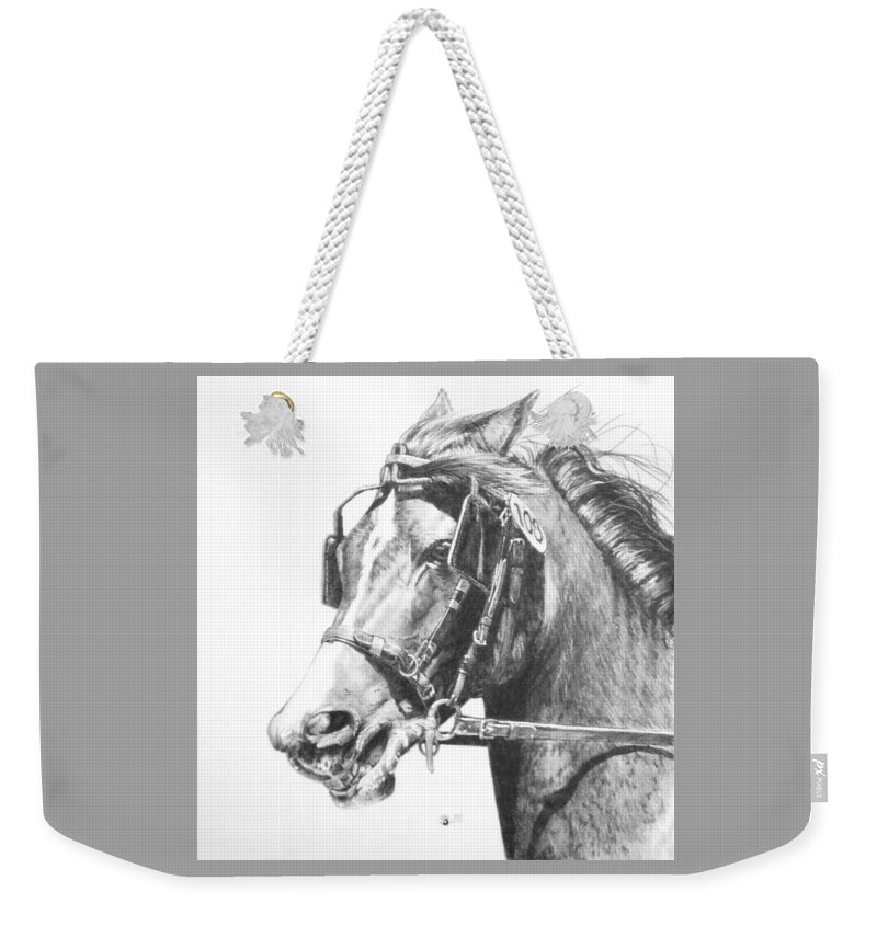 Horse Weekender Tote Bag featuring the drawing Exertion by Barbara Keith