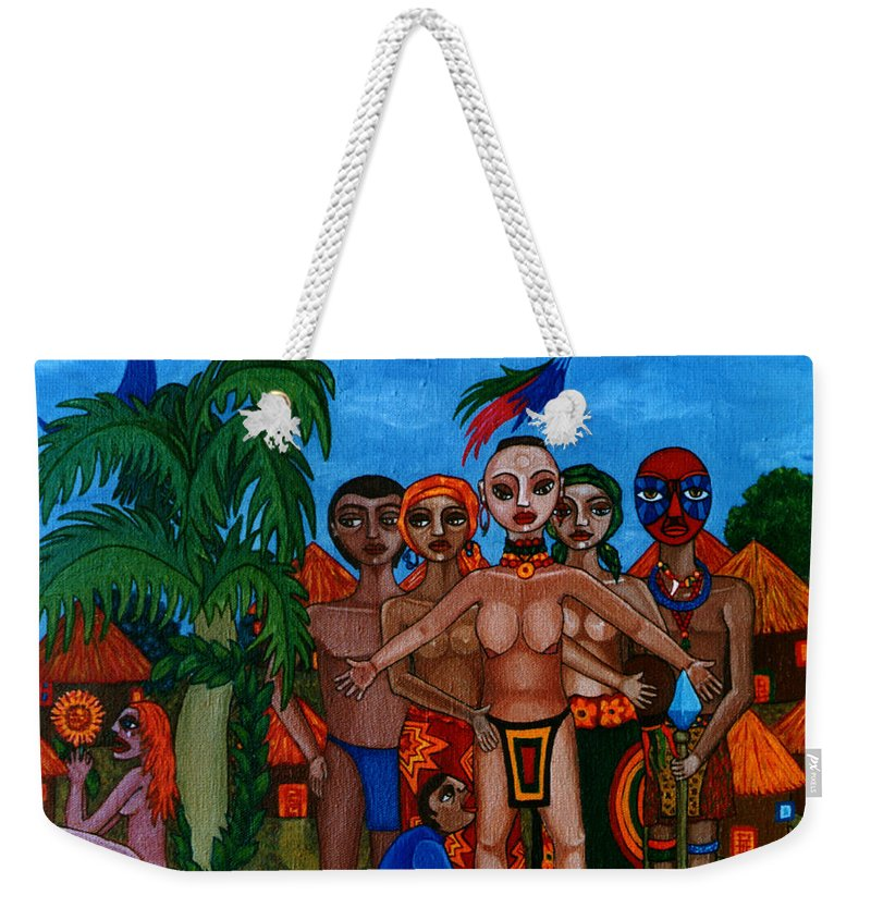 Homeland Weekender Tote Bag featuring the painting Exiled In Homeland by Madalena Lobao-Tello