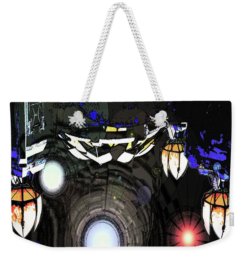 Abstract Weekender Tote Bag featuring the digital art Exiting The Mother Ship by DigiArt Diaries by Vicky B Fuller