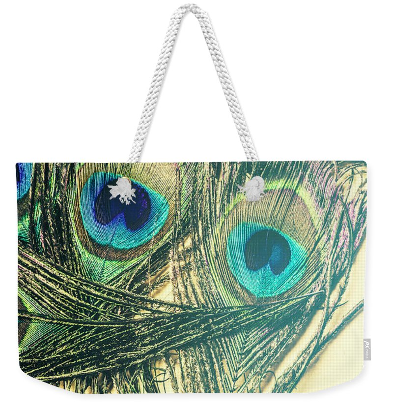 Exotic Weekender Tote Bag featuring the photograph Exotic Eye Of The Peacock by Jorgo Photography - Wall Art Gallery