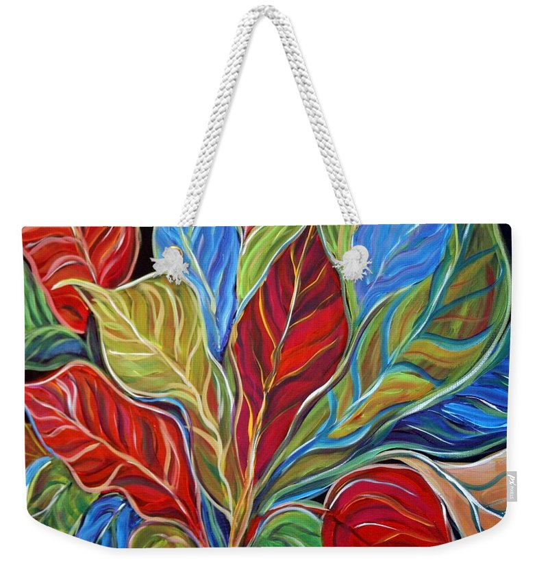 Art Weekender Tote Bag featuring the painting Exotic Foliage by Luiza Vizoli