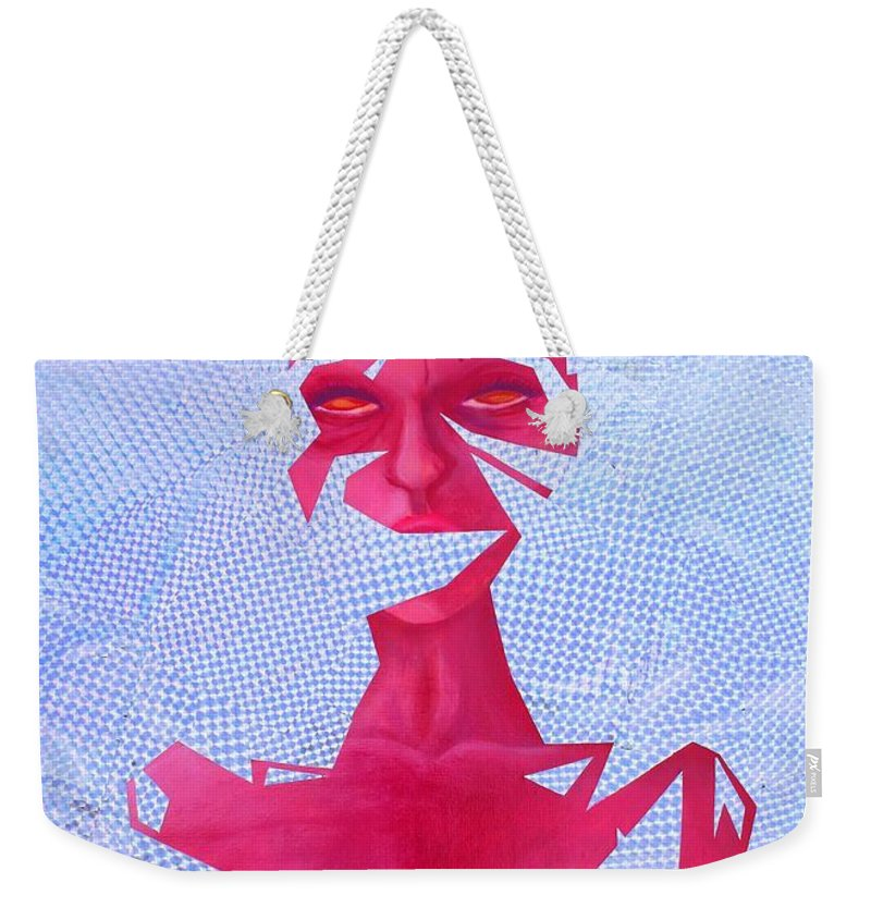 Trippy Expension Thought Growth Pink Sparkle Glitter Neon Space Stars Female Strength Nudity Breast Femininity Sharp Suffocating Weekender Tote Bag featuring the mixed media Expansion by Maria Juarez