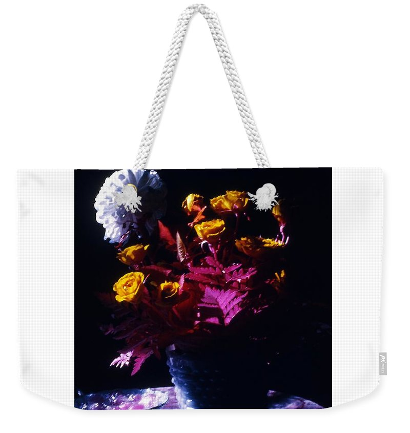 Roses Vase Candy Dish Infrared Still Life Weekender Tote Bag featuring the photograph Experiment In Light by Bob Bennett