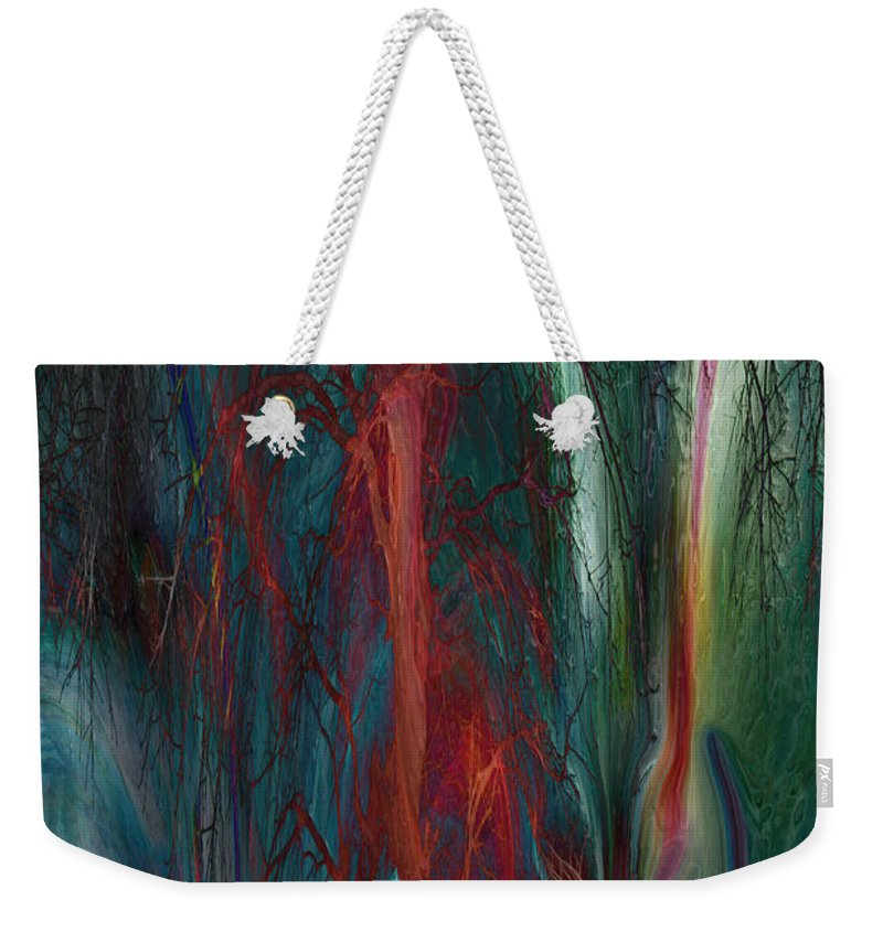 Abstracts Weekender Tote Bag featuring the digital art Experimental Tree by Linda Sannuti