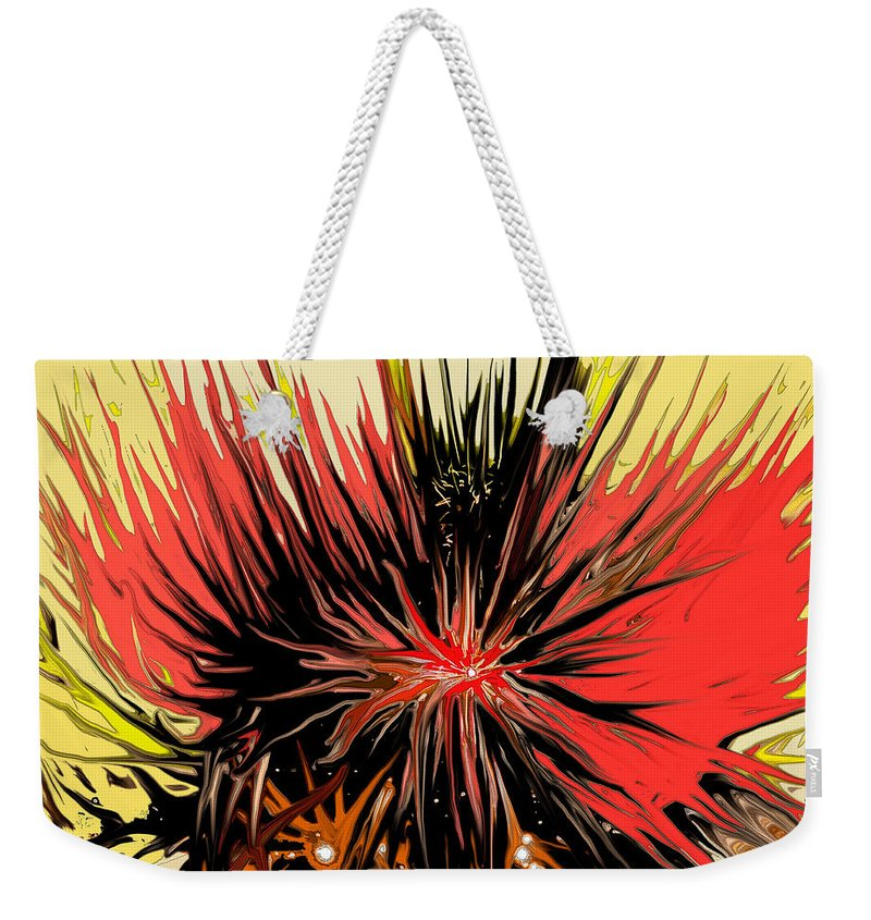 Abstract Weekender Tote Bag featuring the digital art Explosion by Ian MacDonald
