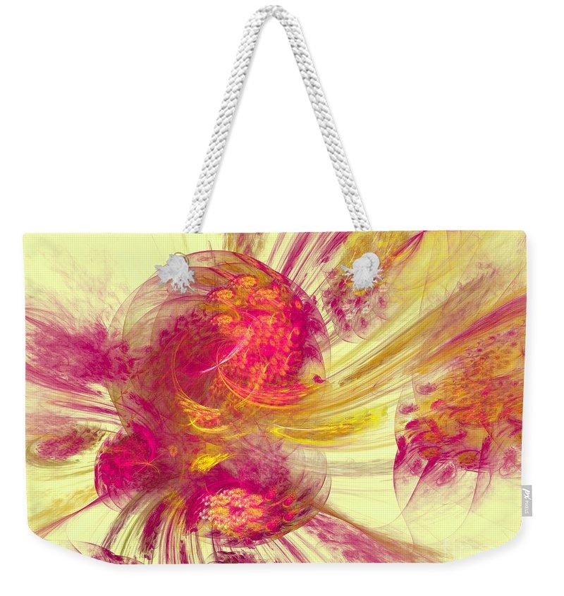 Pink Weekender Tote Bag featuring the digital art Explosion Of Color by Deborah Benoit