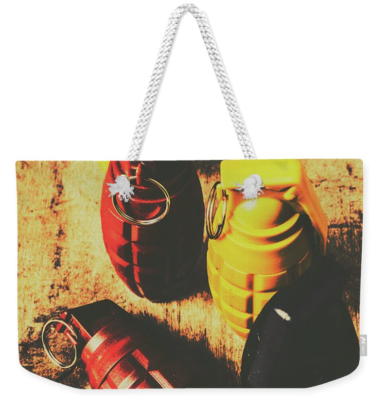 Weapon Weekender Tote Bag featuring the photograph Explosive Ordnance by Jorgo Photography - Wall Art Gallery