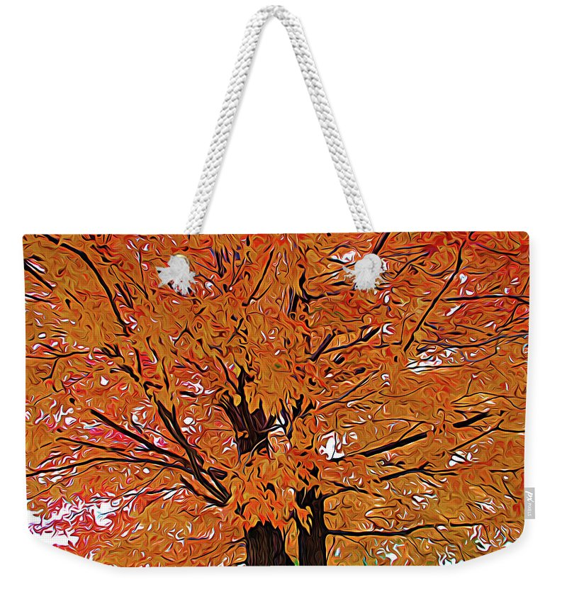 Autumn Weekender Tote Bag featuring the photograph Expressionalism Golden Tree by Aimee L Maher ALM GALLERY