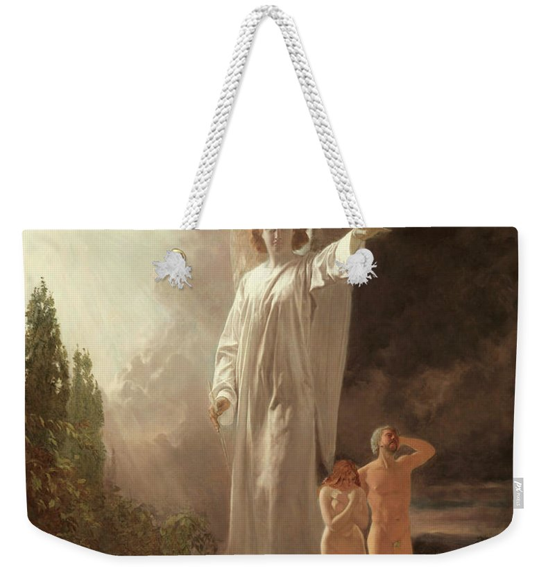 Expulsion Weekender Tote Bag featuring the painting Expulsion Of Adam And Eve by John Faed