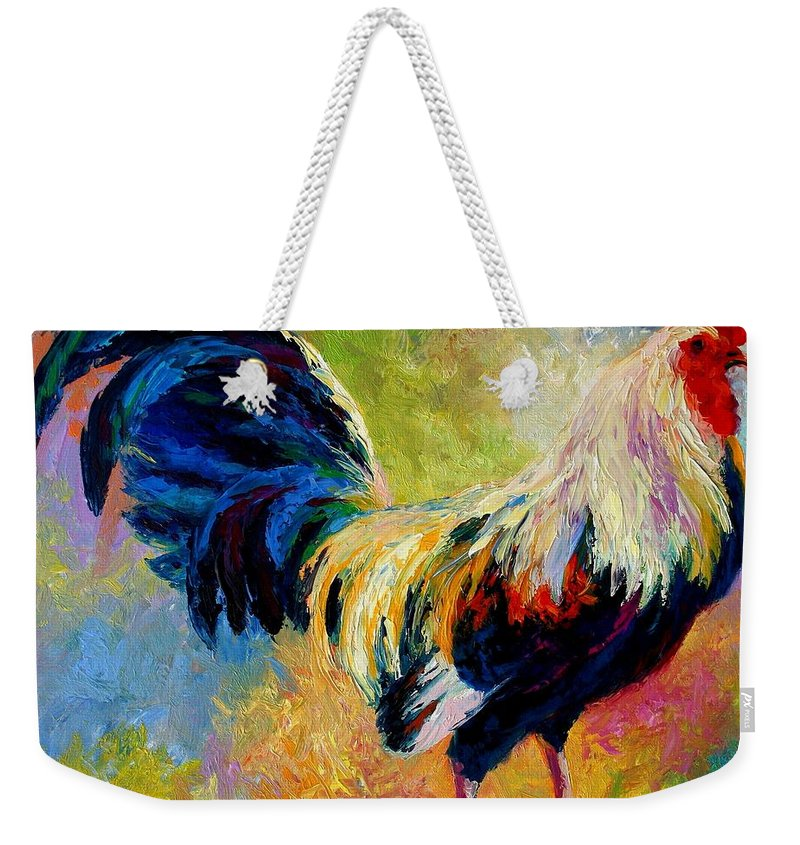 Rooster Weekender Tote Bag featuring the painting Eye Candy by Marion Rose