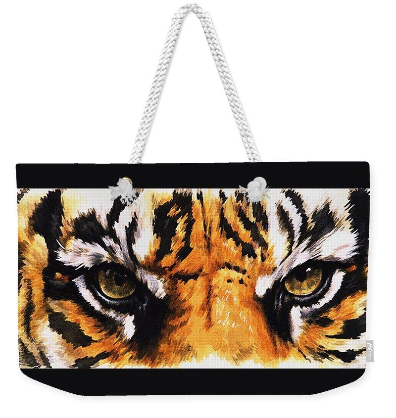 Feline Weekender Tote Bag featuring the mixed media Sumatran Tiger Glare by Barbara Keith