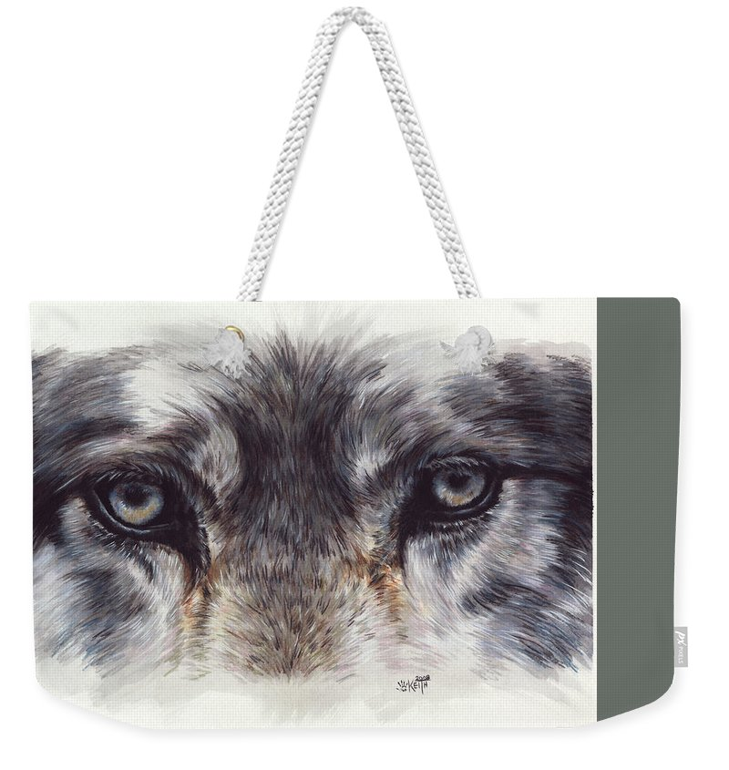 Wolf Weekender Tote Bag featuring the painting Eye-catching Wolf by Barbara Keith