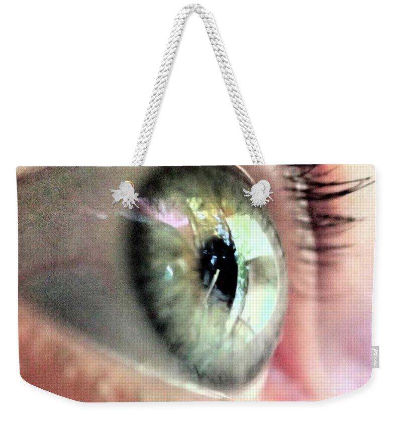 Macro Green Eye Photo Look Close-up Close Up Catherine Belloeil Weekender Tote Bag featuring the photograph Eye by Catherine BELLOEIL