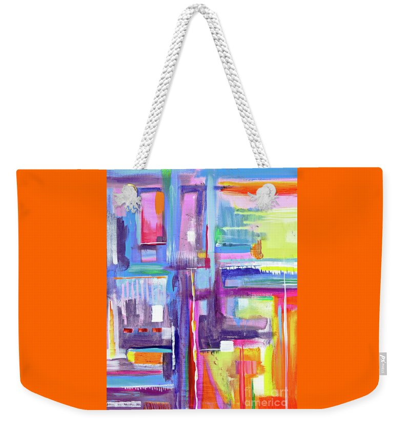 A Scape. New Series Begins Here.and The Title Eyedropper Weekender Tote Bag featuring the painting Eye Dropper by Priscilla Batzell Expressionist Art Studio Gallery