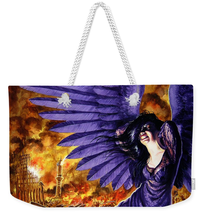Political Commentary Weekender Tote Bag featuring the painting Eye For An Eye by Ken Meyer