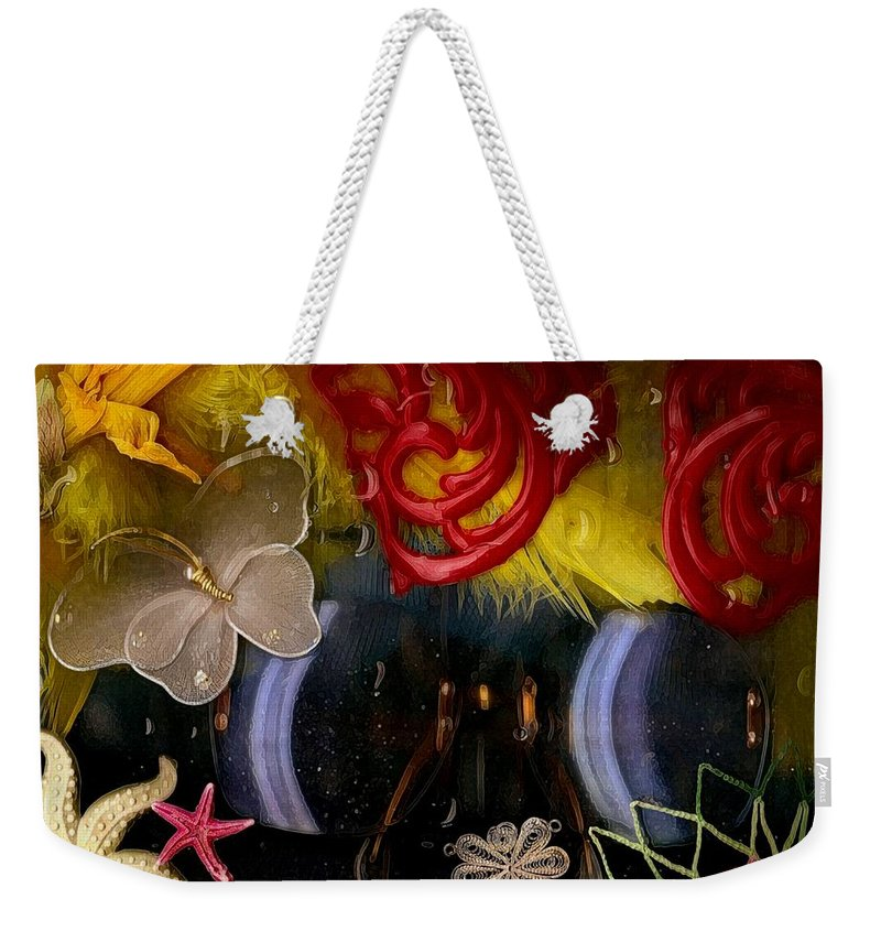 Seafish Weekender Tote Bag featuring the mixed media Eye Glasses In Popart With Style by Pepita Selles