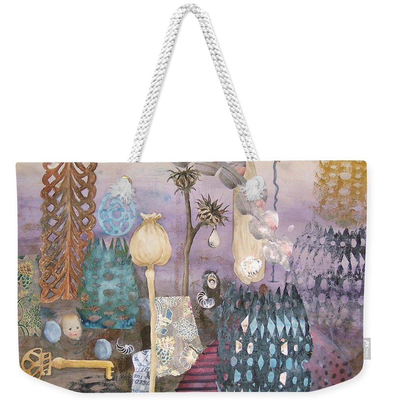 Abstract Weekender Tote Bag featuring the painting Eye has it by Valerie Meotti