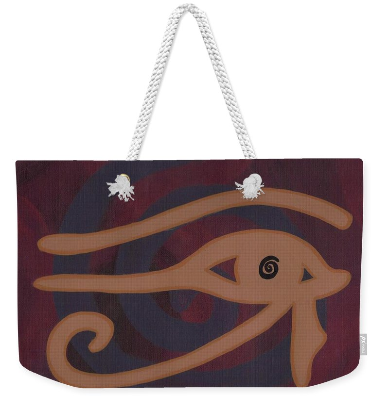 Eye Weekender Tote Bag featuring the painting Eye Of Horus by Jill Christensen