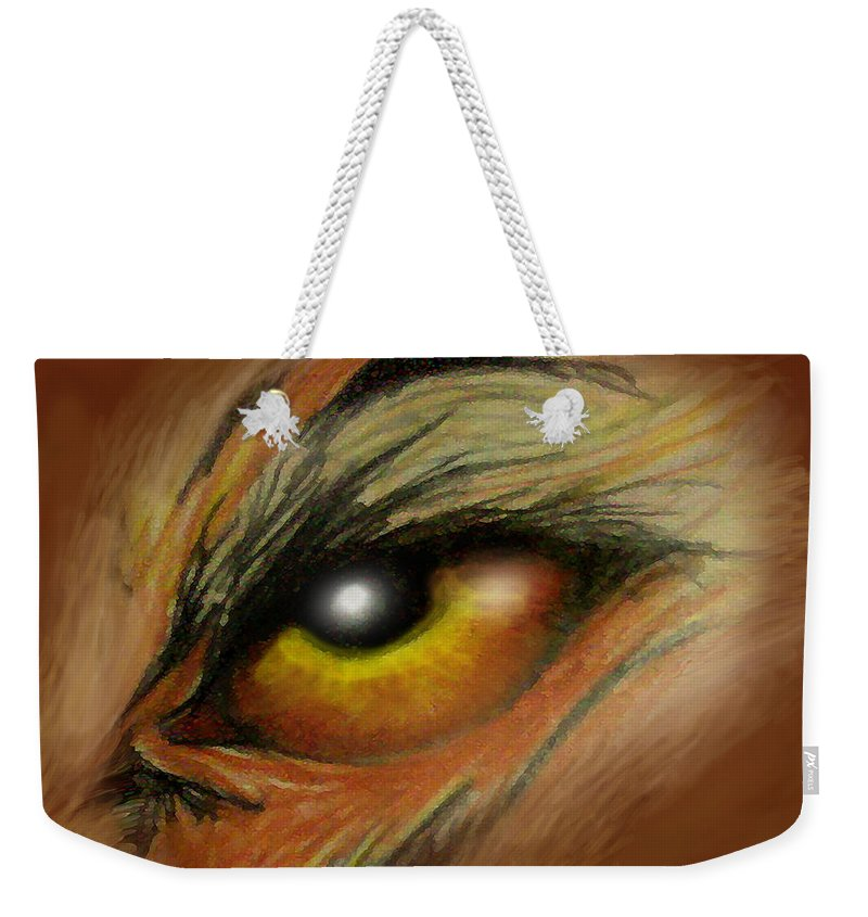 Eye Weekender Tote Bag featuring the painting Eye Of The Beast by Kevin Middleton