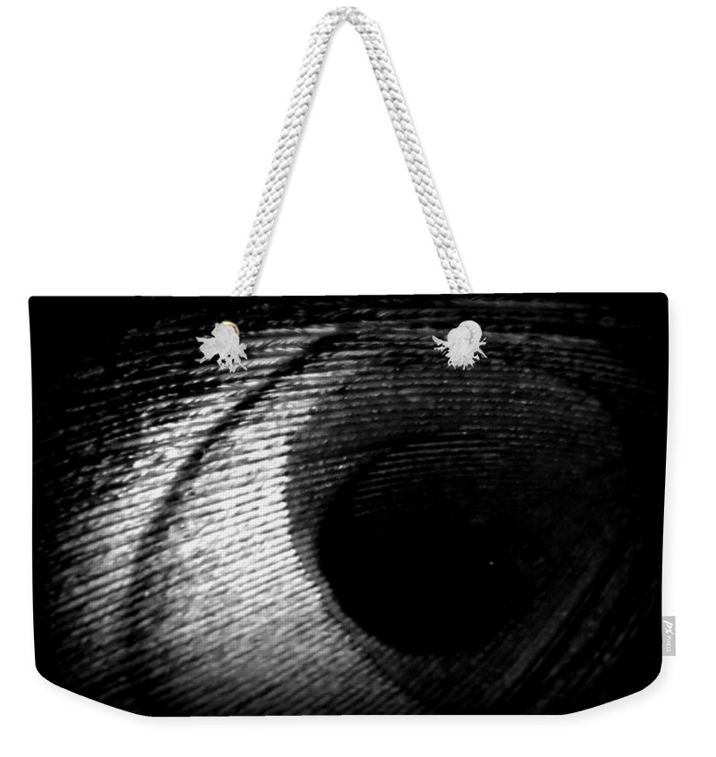 Digital Photograph Weekender Tote Bag featuring the photograph Eye Of The Peacock Feather by Laurie Pike
