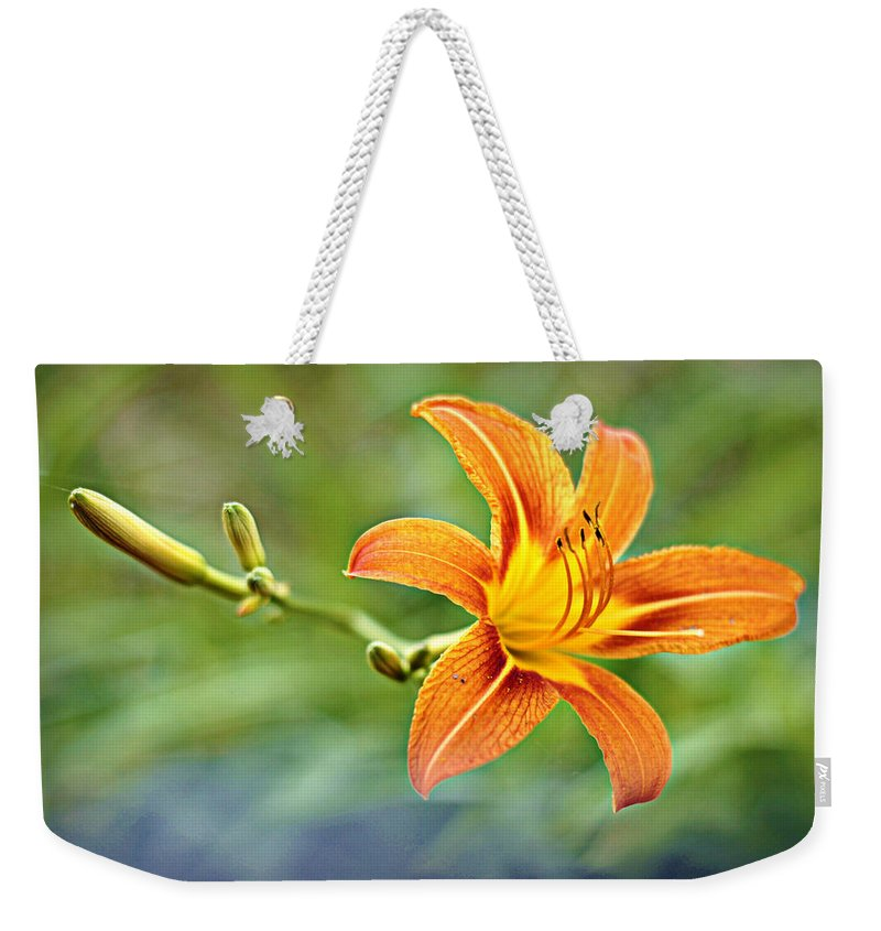 Flower Weekender Tote Bag featuring the photograph Eye Of The Tiger by Cricket Hackmann
