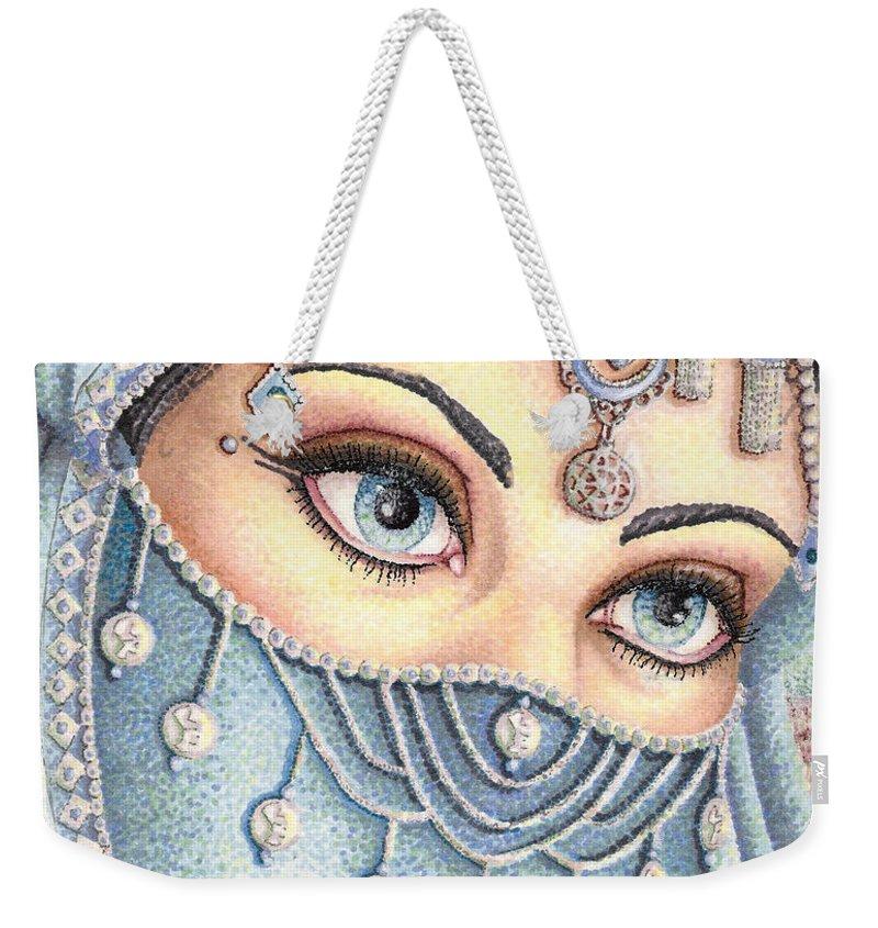 Eyes Weekender Tote Bag featuring the drawing Eyes Like Water by Scarlett Royal
