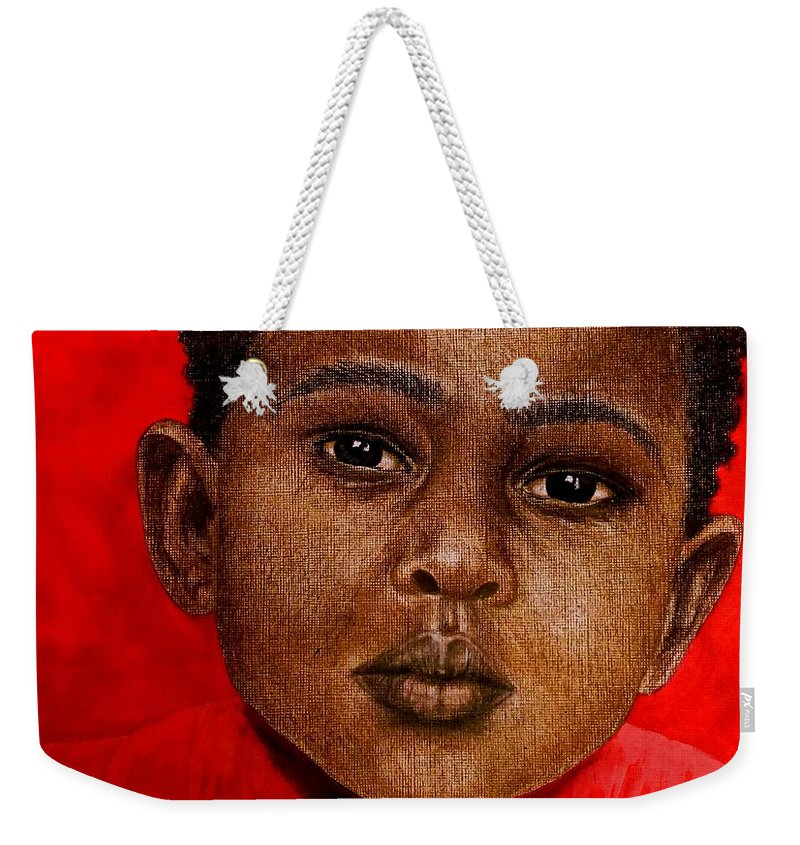 Painting Weekender Tote Bag featuring the painting Eyes Of Innocence by Edith Peterson