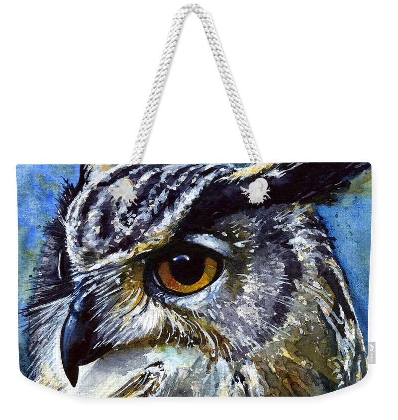 Owls Weekender Tote Bag featuring the painting Eyes of Owls No.25 by John D Benson