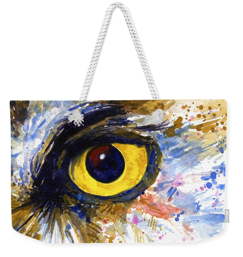 Owls Weekender Tote Bag featuring the painting Eyes Of Owl's No.6 by John D Benson