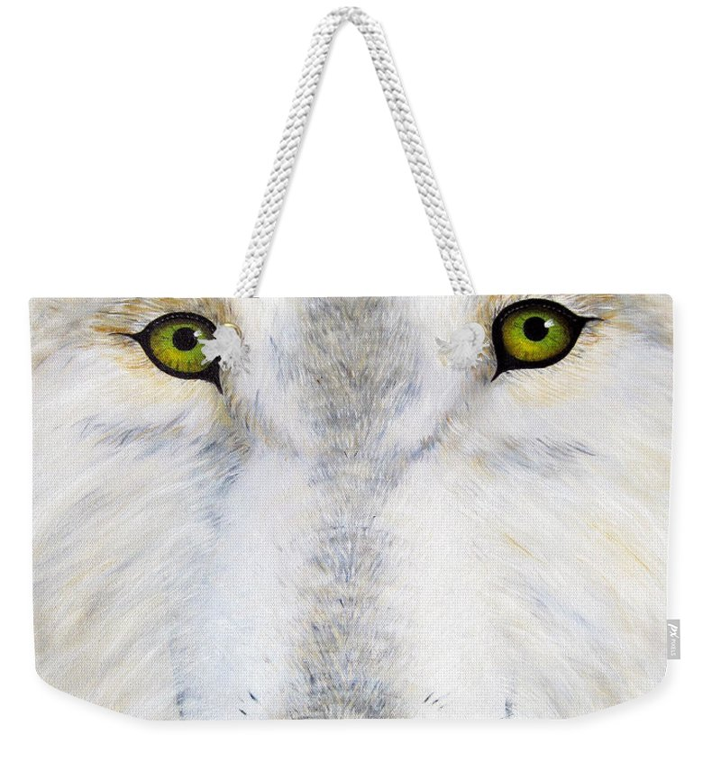 Wolf Weekender Tote Bag featuring the painting Eyes Of The Wolf by Jerome Stumphauzer