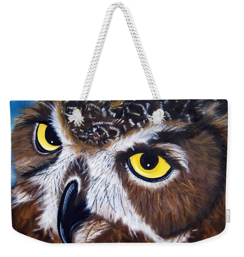 Owl Weekender Tote Bag featuring the painting Eyes Of Wisdom by Debbie LaFrance