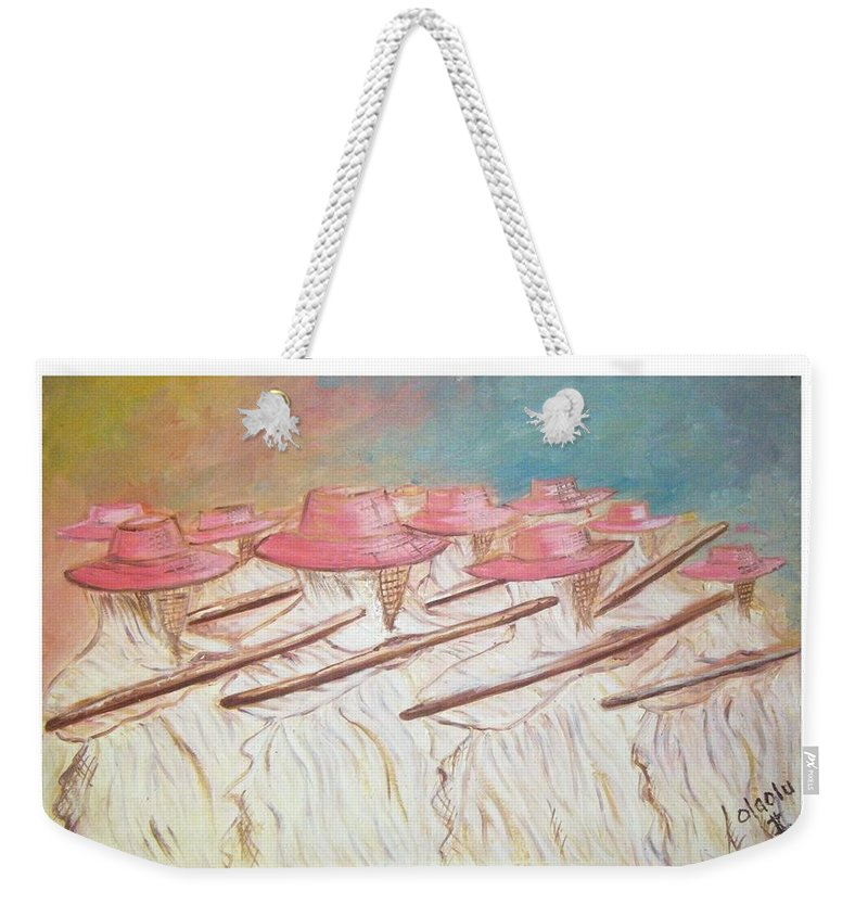 Abstract Weekender Tote Bag featuring the painting Eyo Festival by Olaoluwa Smith