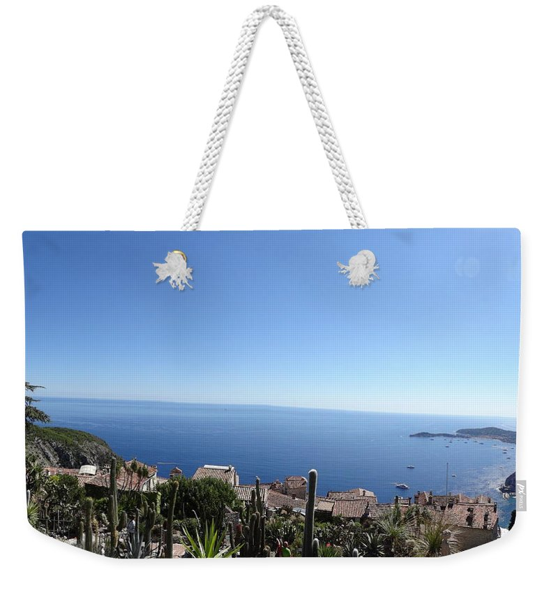 Weekender Tote Bag featuring the photograph Eze's Garden Panoramic by Andres Chauffour