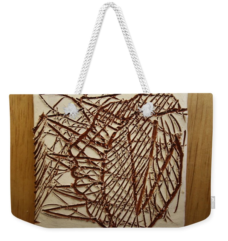 Jesus Weekender Tote Bag featuring the ceramic art Ezra - Tile by Gloria Ssali