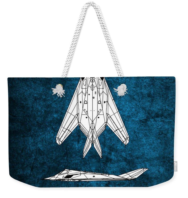 F-117a Weekender Tote Bag featuring the digital art F-117 Nighthawk by J Biggadike