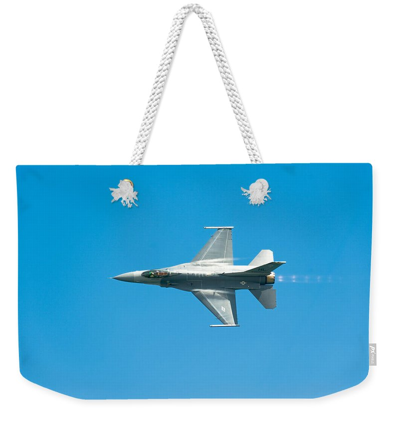 Major David Graham Weekender Tote Bag featuring the photograph F-16 Full Speed by Sebastian Musial