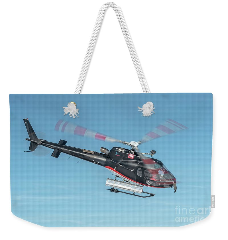 Eurecuil Weekender Tote Bag featuring the photograph F-gsdg Eurocopter As350 Helicopter In Blue Sky by Roberto Chiartano